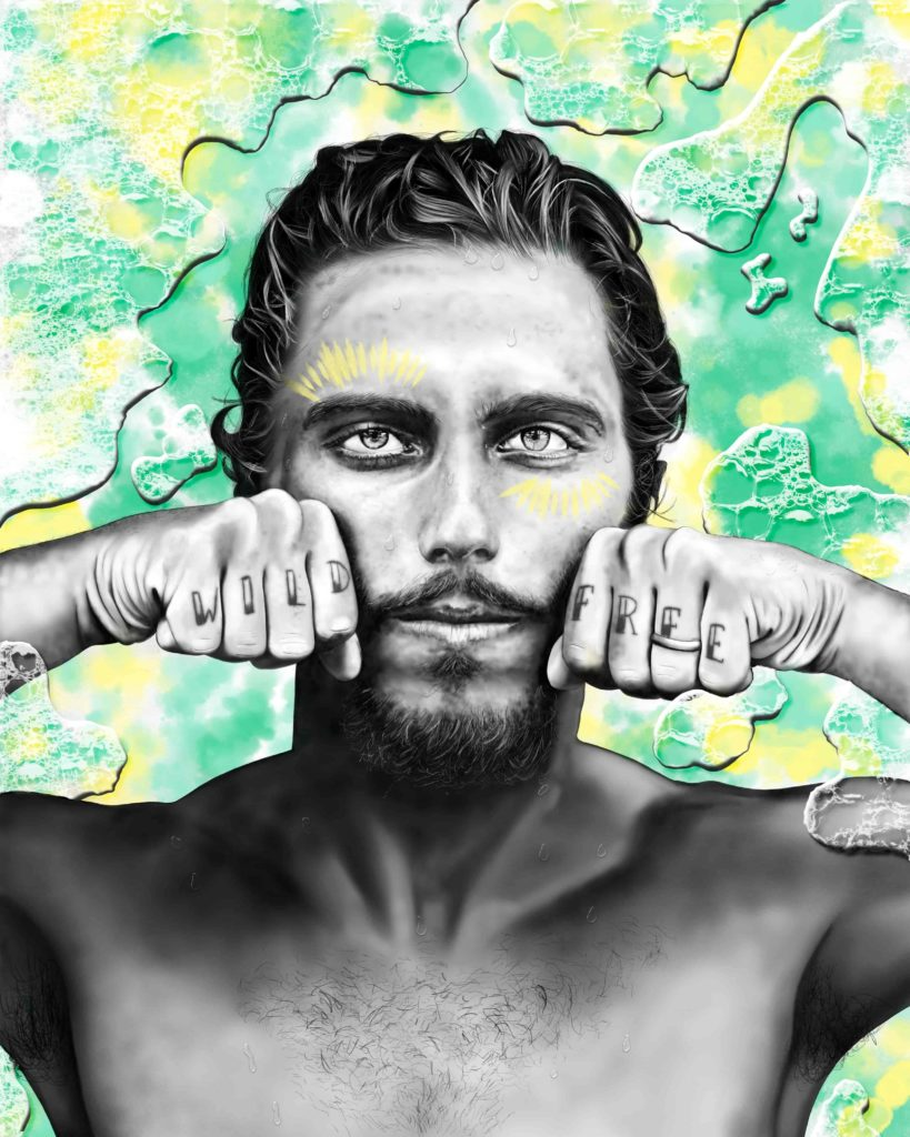 brazilian pro surfer Filipe Toledo portrait illustration by Fabi Aguilar